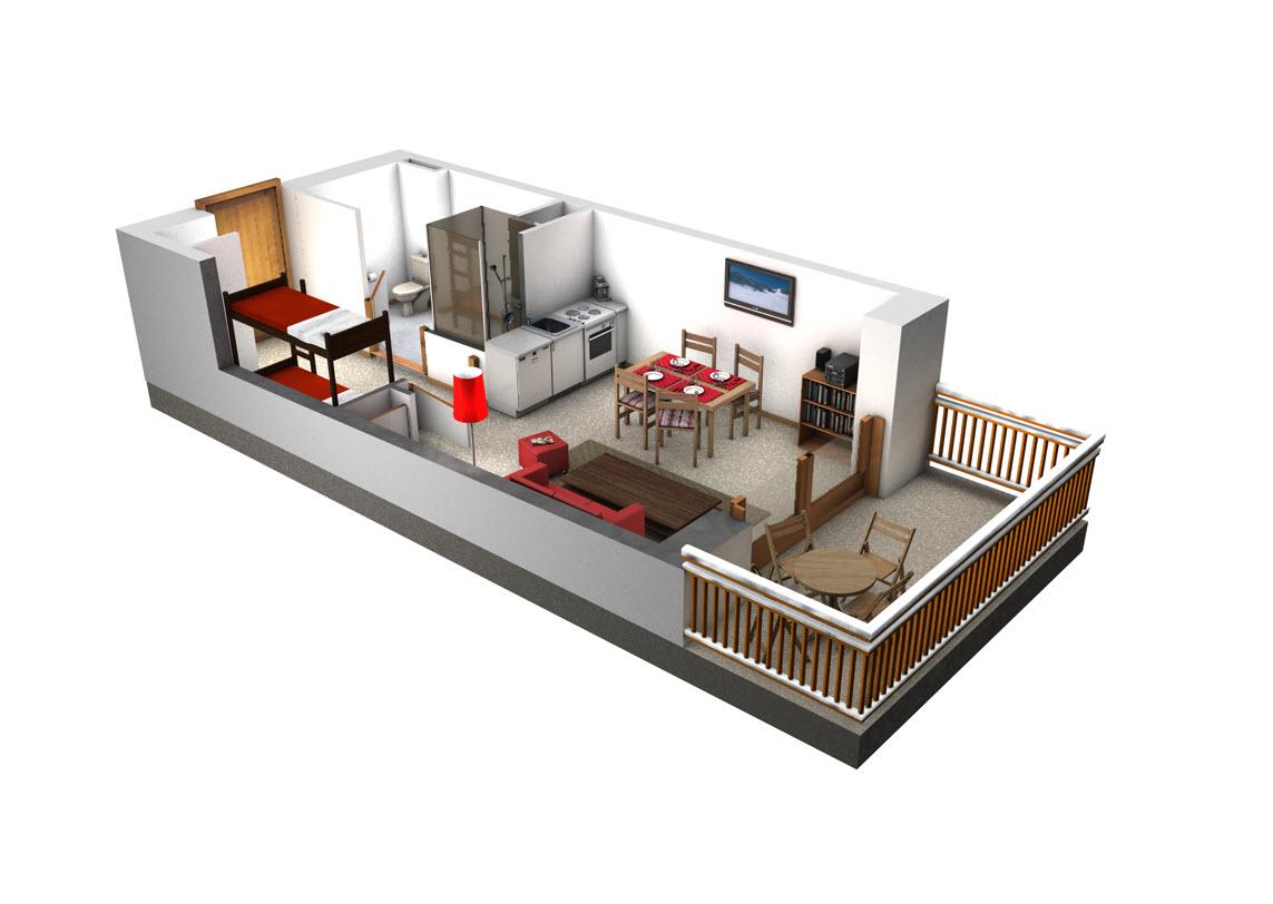 Studio thollon spatules thollon immobilier for Plan appartement 1 chambre